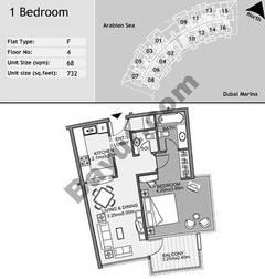 4th Floor 1 Bedroom Type F8