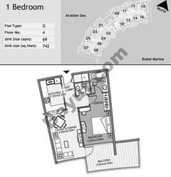 4th Floor 1 Bedroom Type G2