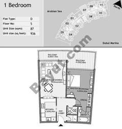 5th Floor 1 Bedroom Type D7