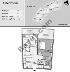 6th Floor 1 Bedroom Type D1