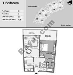 6th Floor 1 Bedroom Type D7