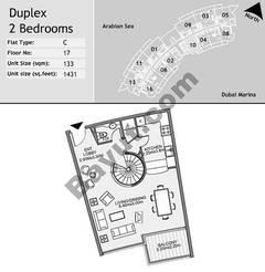 17th Floor 2 Bedroom Type C10
