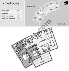 5th Floor 2 Bedroom Type D8