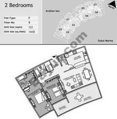 9th Floor 2 Bedroom Type F2