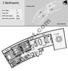 19th Floor 3 Bedroom Type F1