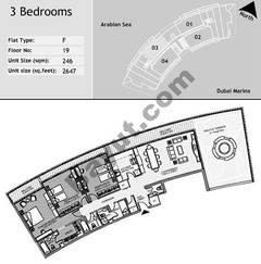 19th Floor 3 Bedroom Type F3