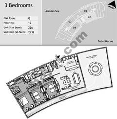 19th Floor 3 Bedroom Type G2