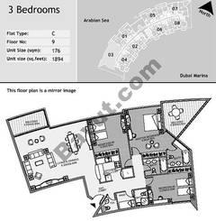 9th Floor 3 Bedroom Type C3