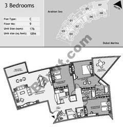 9th Floor 3 Bedroom Type C7