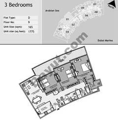 9th Floor 3 Bedroom Type D1