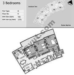 9th Floor 3 Bedroom Type D5