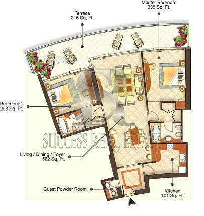 12 2 BR | Trident Grand | High Floor | Sea View