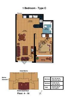 1 Bedroom-Type C Floor (4-16)