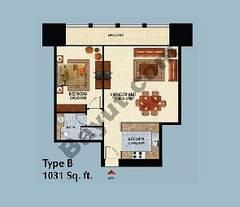 Type B 1 Bedroom Apt