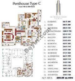 Floors (74-80) Penthouse Type C 3Bedroom