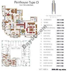 Floors (74-80) Penthouse Type D 3Bedroom