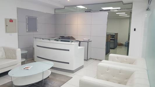 Office for Rent in Al Barsha, Dubai - Unfurnished Chiller free  4 Glass Partition office 1100sqft attached pantry and toilet