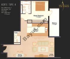 Type A Unit 701 7th Floor 1 Bedroom