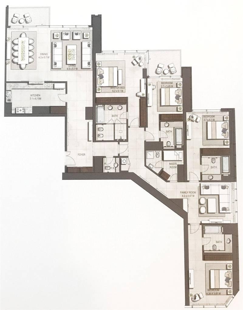 10 High Floor | Full Fountain View | Ready