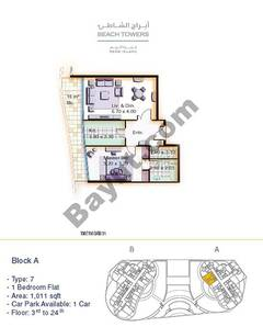 Block A 1 bed Type 7 Floor (3rd-24th)