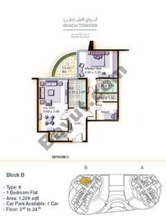 Block B 1 bed Type 8 Floor (3rd-24th)