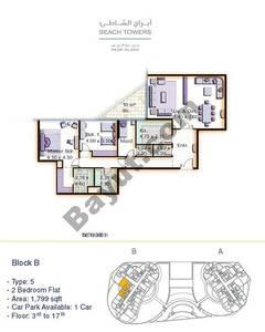 Block B 2 bed Type 5 Floor (3rd-17th)