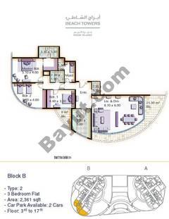 Block B 3 bed Type 2 Floor (3rd-17th)