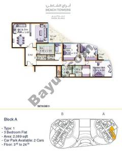 Block A 3 bed Type 1 Floor (3rd-24th)