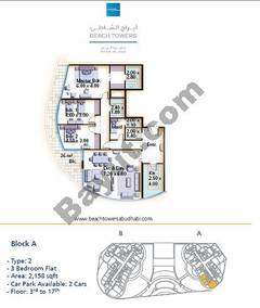 Block A 3 bed Type 2 Floor (3rd-17th)