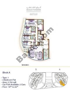 Block A 4 bed Type 1 Floor (18th-24th)