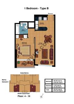 1 Bedroom-Type B Floor (4-19)