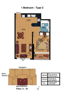 1 Bedroom-Type C Floor (4-16)