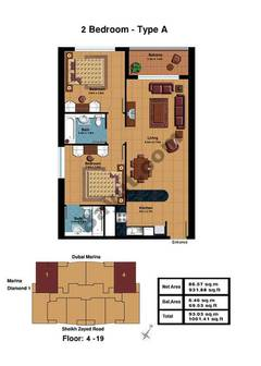 2 Bedroom-Type A Floor (4-19