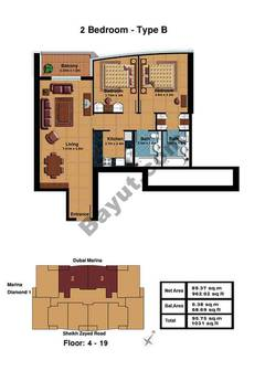 2 Bedroom-Type B Floor (4-19)