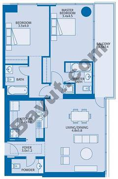 Typical 2 Bedroom 4th to 34th Floor