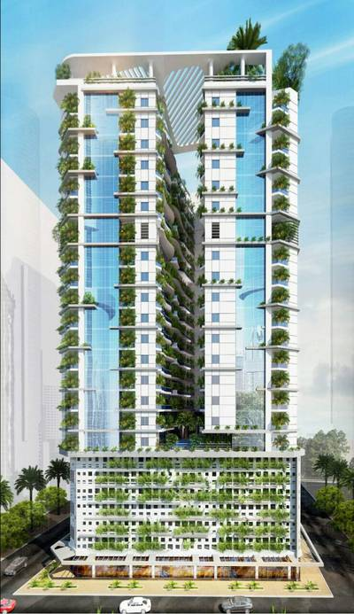 Studio for Sale in Al Amerah, Ajman - Flats for sale in the first agricultural tower in Ajman installments 65 months