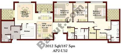 3 Bedrooms Apartment 1
