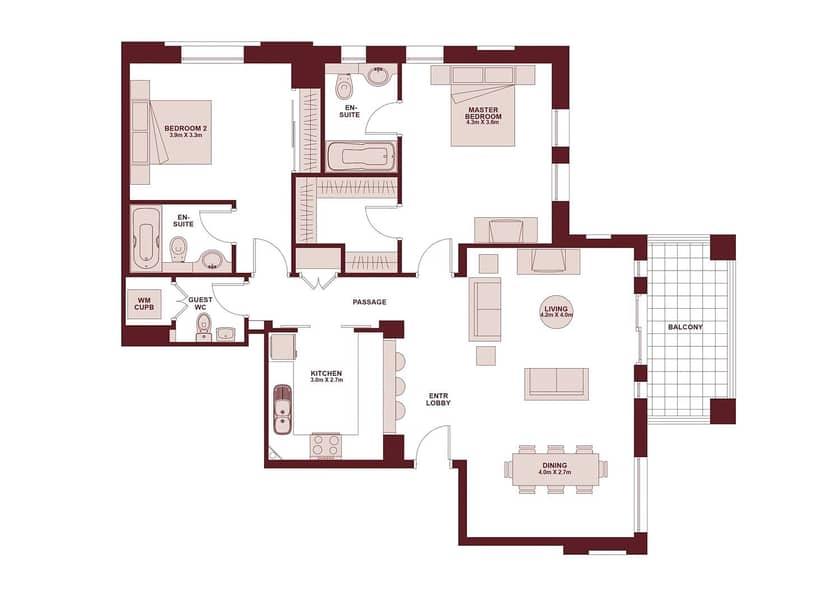 10 Furnished 2 bedroom | Vacant | 1412 Sqft