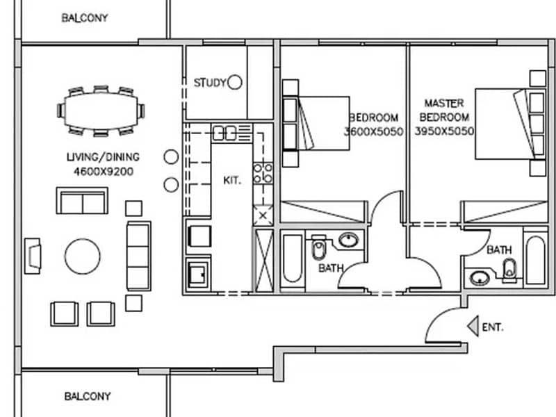 10 Vacant | Largest 2 Bedroom | Double Balconies