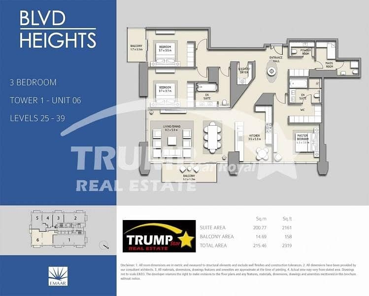 11 3Br+Maid High Floor Apt in Boulevard Heights Downtown Dubai