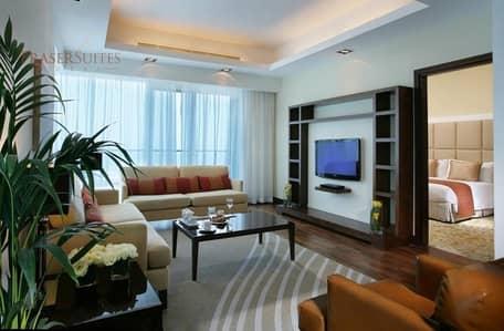 شقة فندقية 2 غرفة نوم للايجار في الصفوح، دبي - Fully Furnished 2BR Executive with Partial Sea View