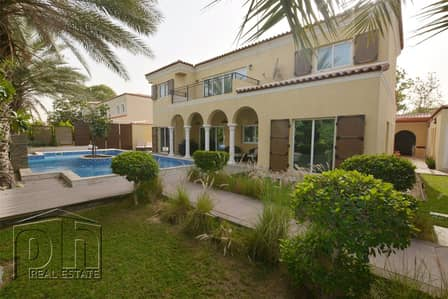 5 Bedroom Villa for Rent in Green Community, Dubai - Large villa with Stunning Pool and outdoor area