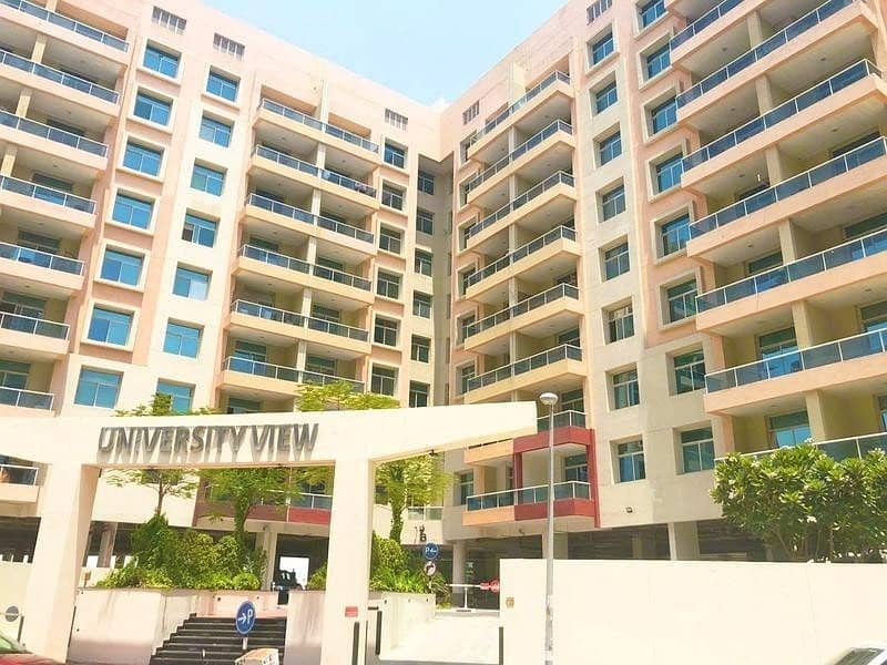 Specious 1 Bedroom apartment with Balcony for rent in University View Dubai Silicon Oasis