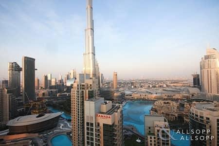 فلیٹ 2 غرفة نوم للبيع في وسط مدينة دبي، دبي - Vacant | Fountain and Burj Khalifa View