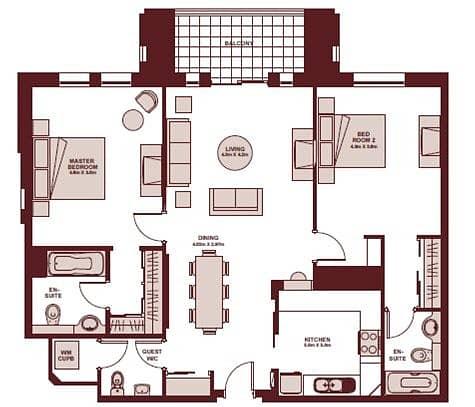 10 Large Terrace | Close to Dubai Mall | 2 Bed