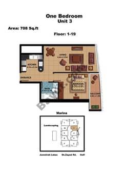 1 Bedroom Unit 3 Floors (1-19)