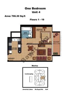 1 Bedroom Unit 4 Floors (1-19)