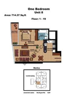 1 Bedroom Unit 8 Floors (1-19)