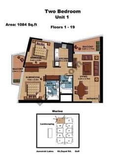 2 Bedroom Unit 1 Floors (1-19)