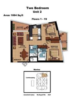 2 Bedroom Unit 2 Floors (1-19)